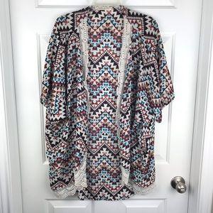 Liberty Love Geometric Print Kimono Sz XL